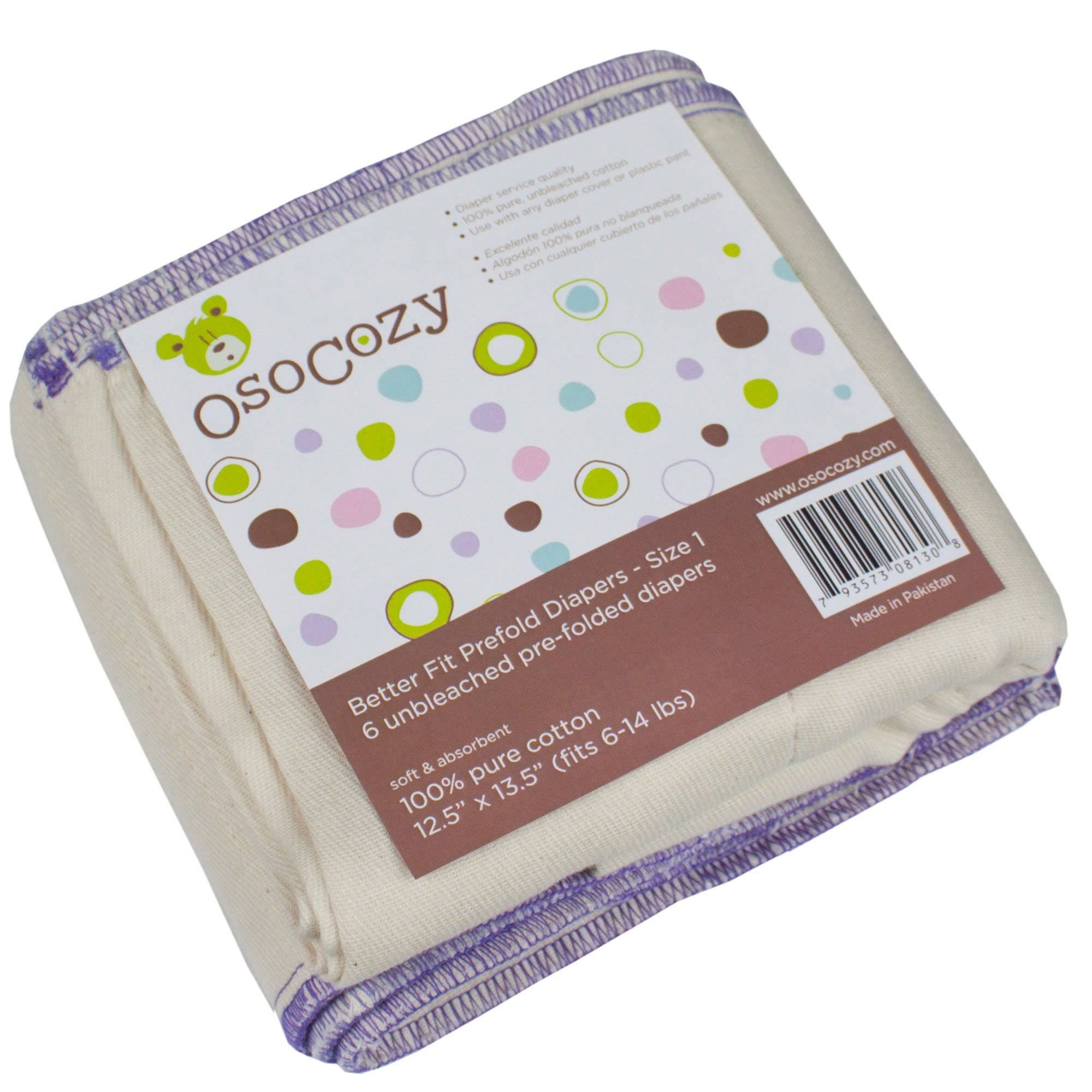 Osocozy Unbleached Better Fit Prefold Cloth Diapers - Small