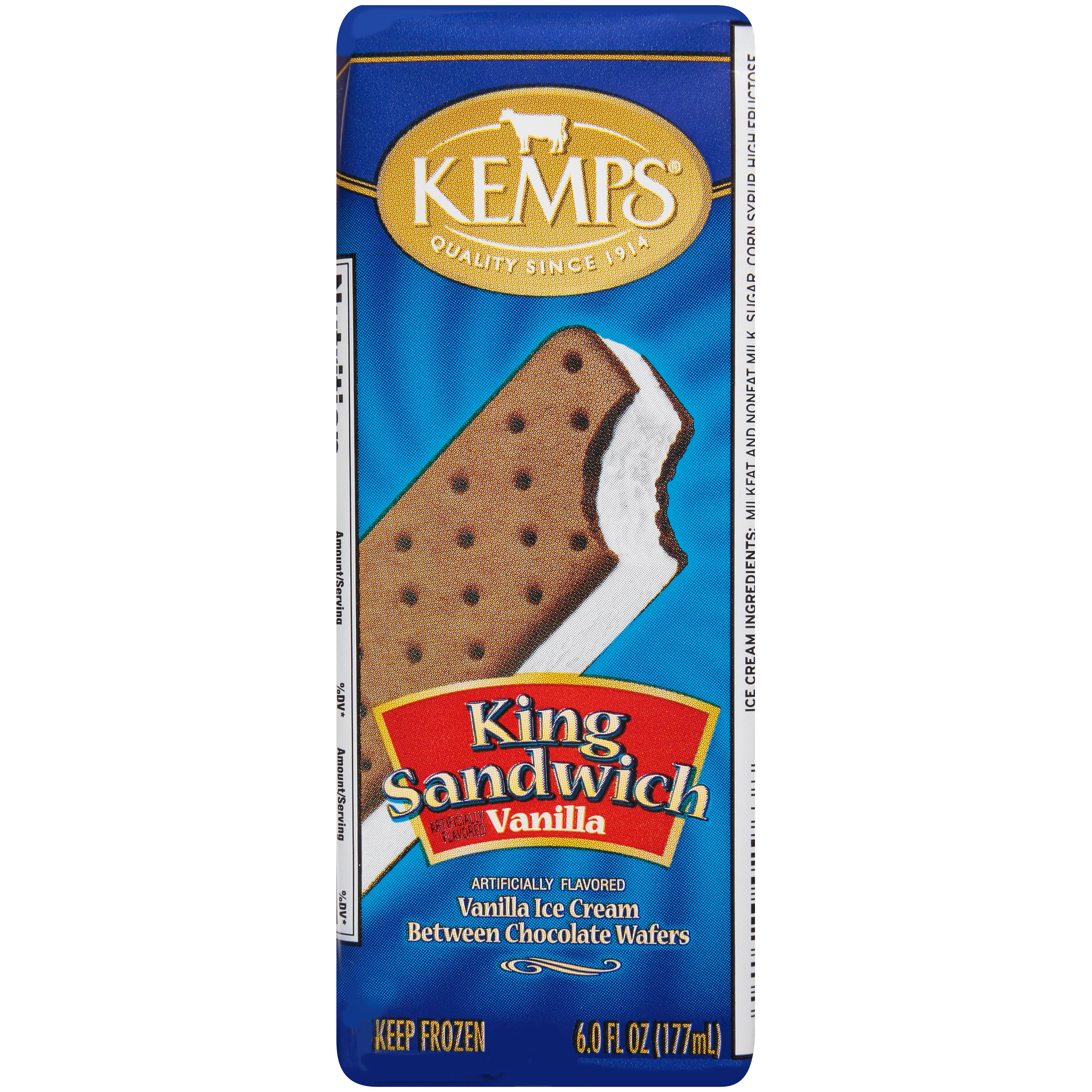 Kemps King Sandwich Vanilla Ice Cream Sandwich 6.0 Fl. Oz. Wrapper