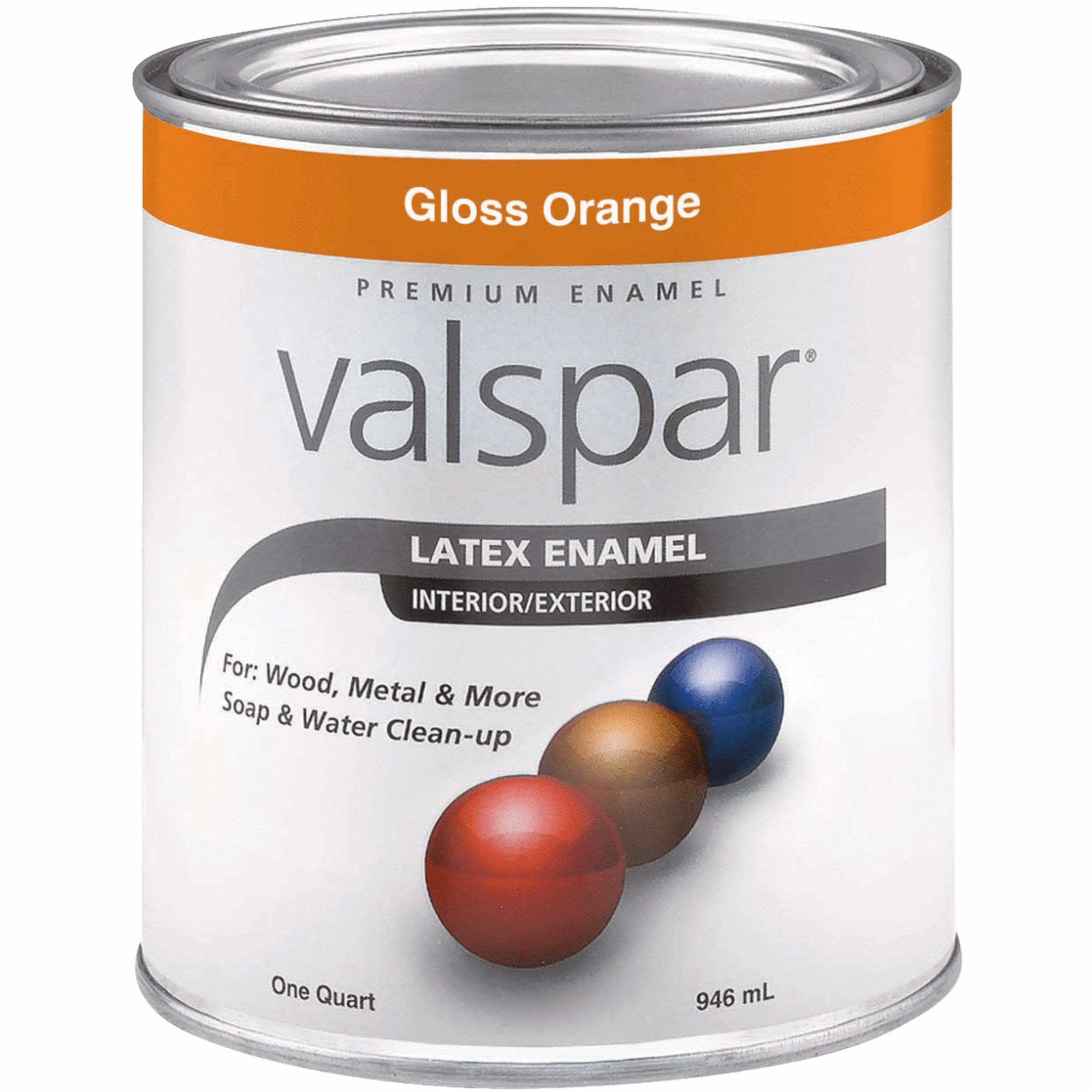 Valspar Latex Enamel - Gloss Orange, 1qt