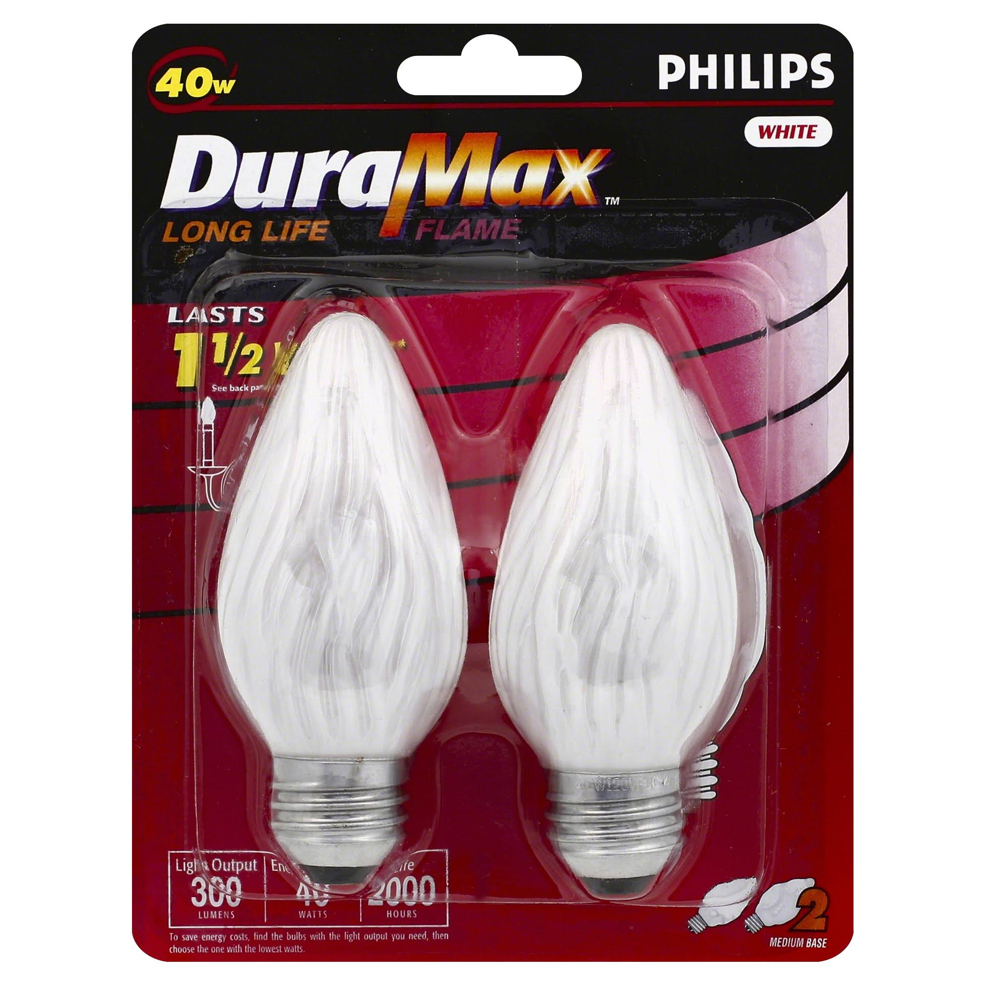 Philips Duramax Long Life Flame Medium Base F15 Light Bulb - White
