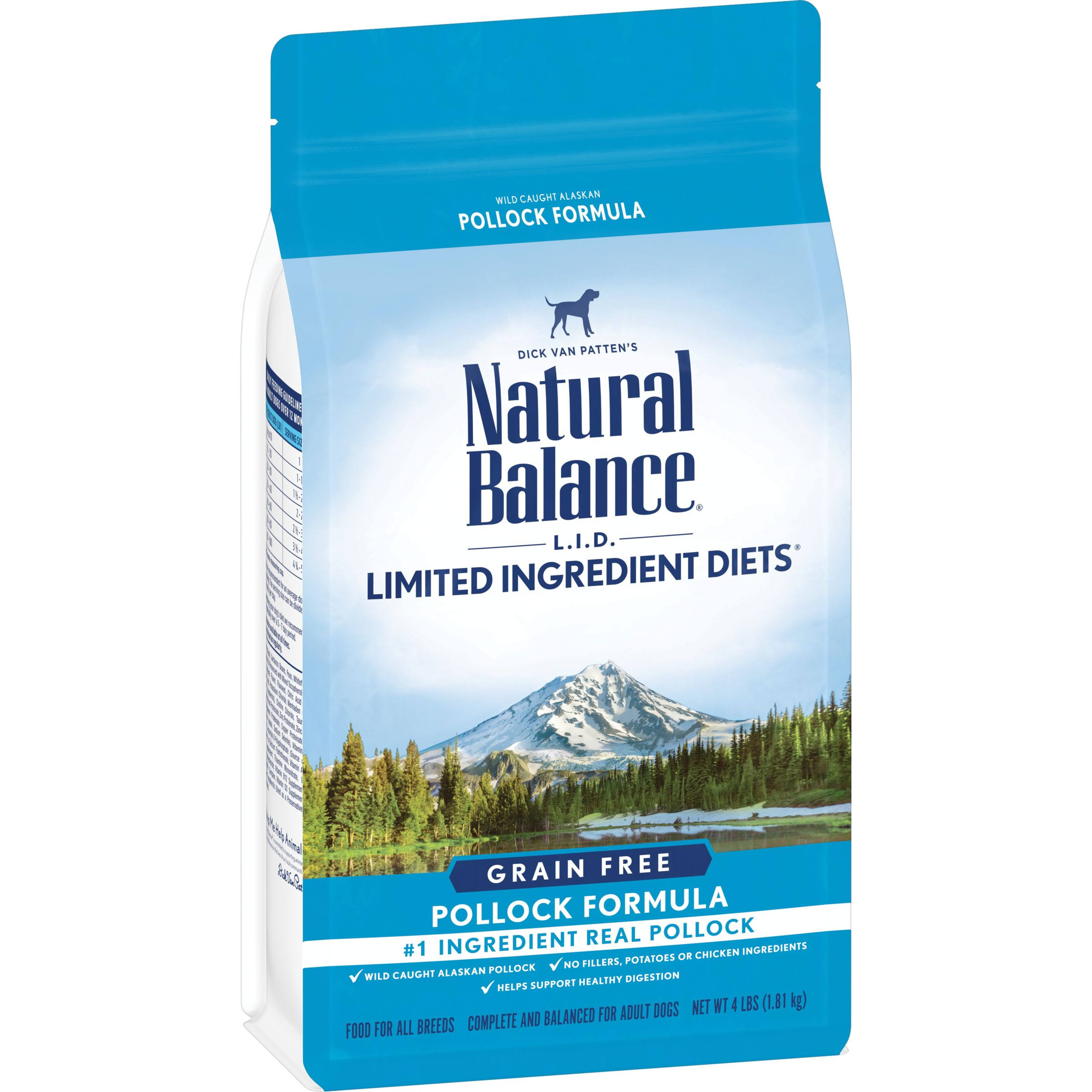 Natural Balance L.I.D. Limited Ingredient Diets Grain Free High Protein Pollock Formula Dry Dog Food (4 lb)