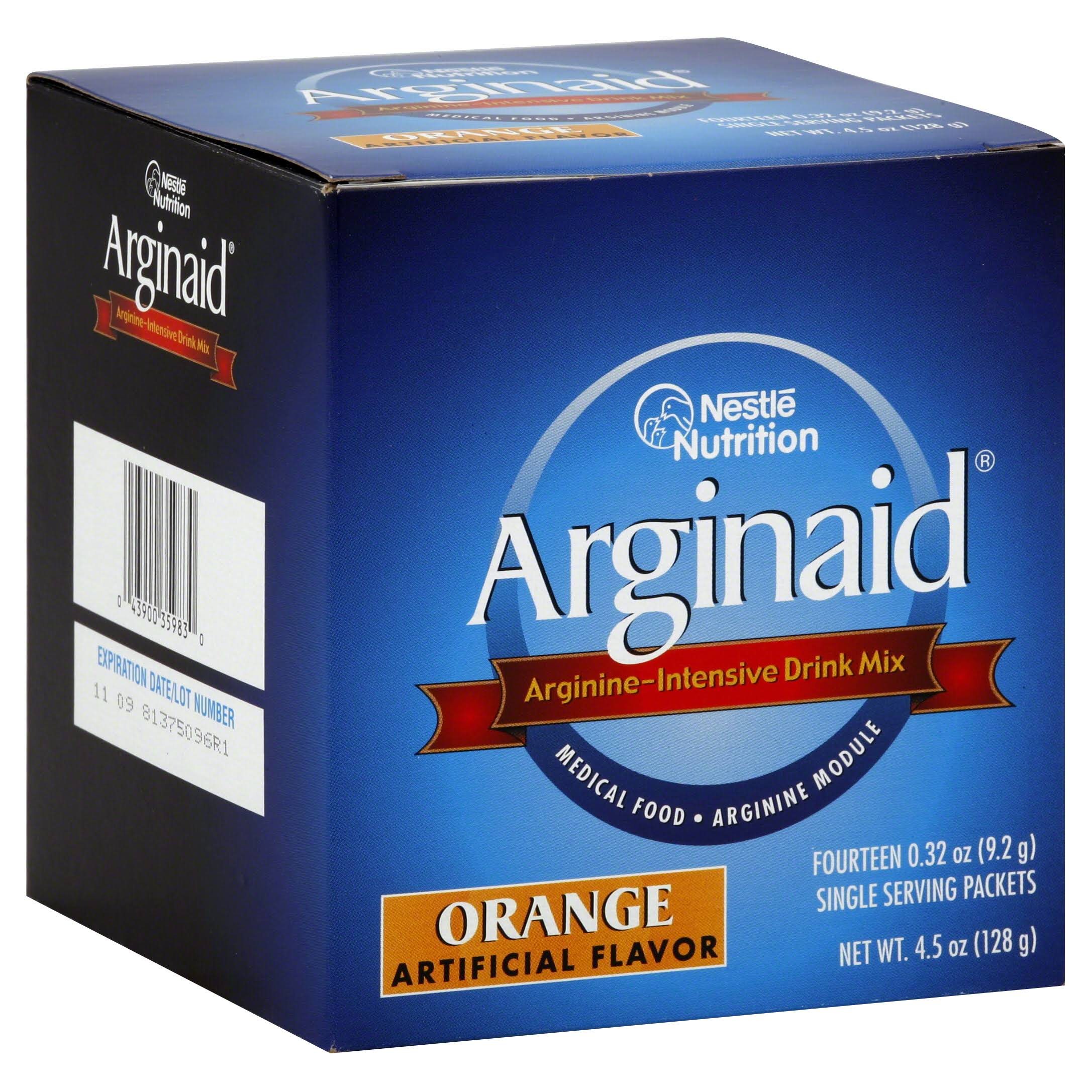 Nestle Arginaid Arginine Powder Sachets - Orange Flavour, x14