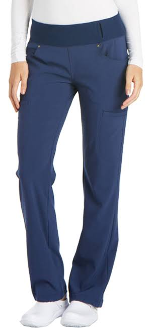 Cherokee Women's Iflex Mid Rise Straight Leg Pull-on Pant - Navy, S
