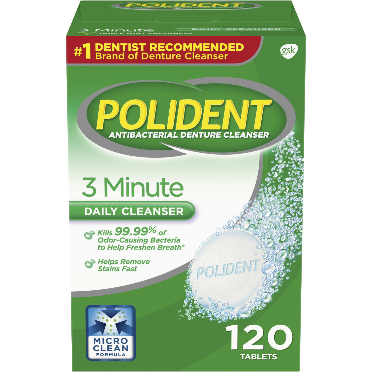 Polident Triple Mint Freshness 3 Minute Antibacterial Denture Cleanser - 120 Tablets