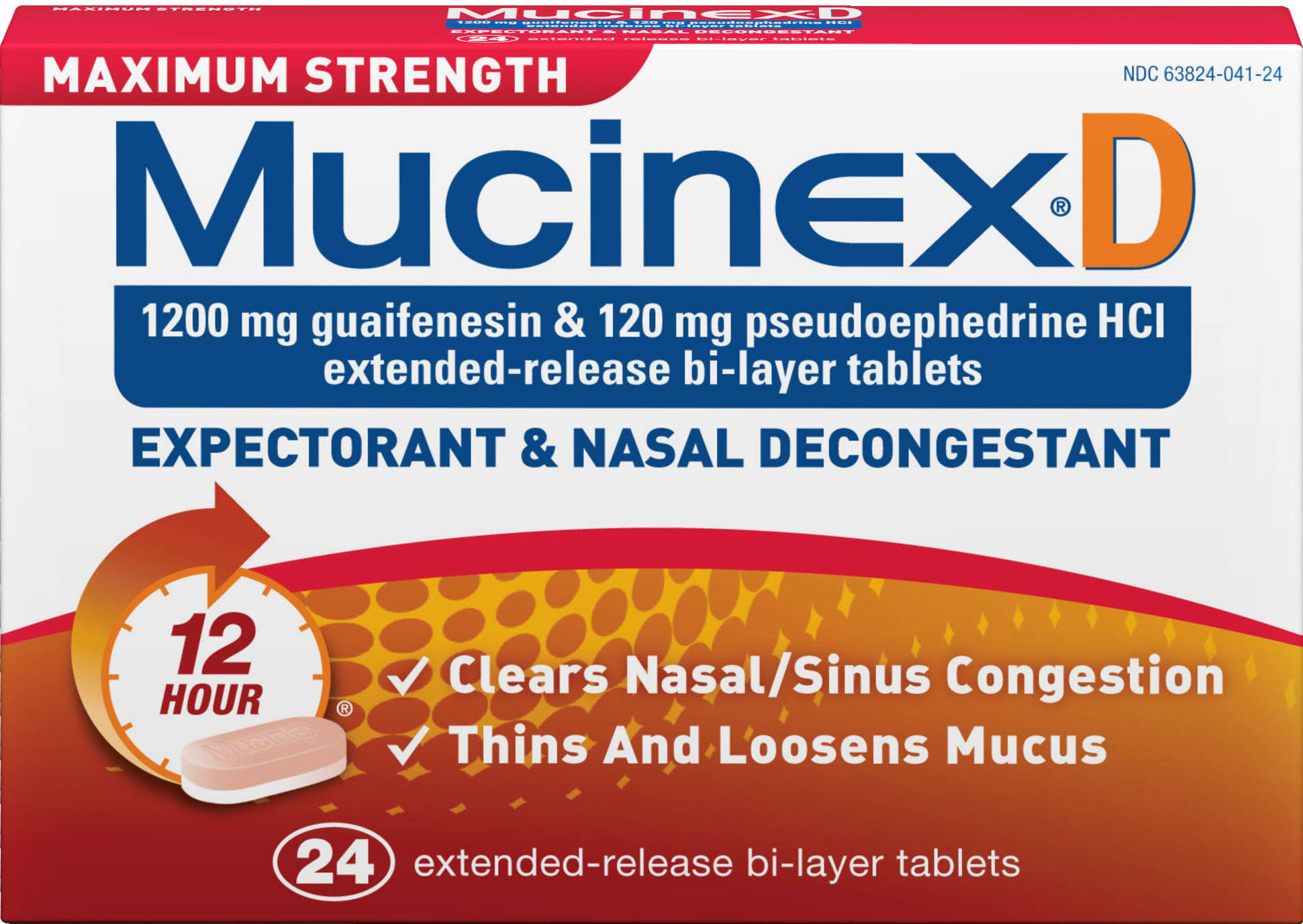 Mucinex D Maximum Strength Expectorant & Nasal Decongestant Tablets - x24