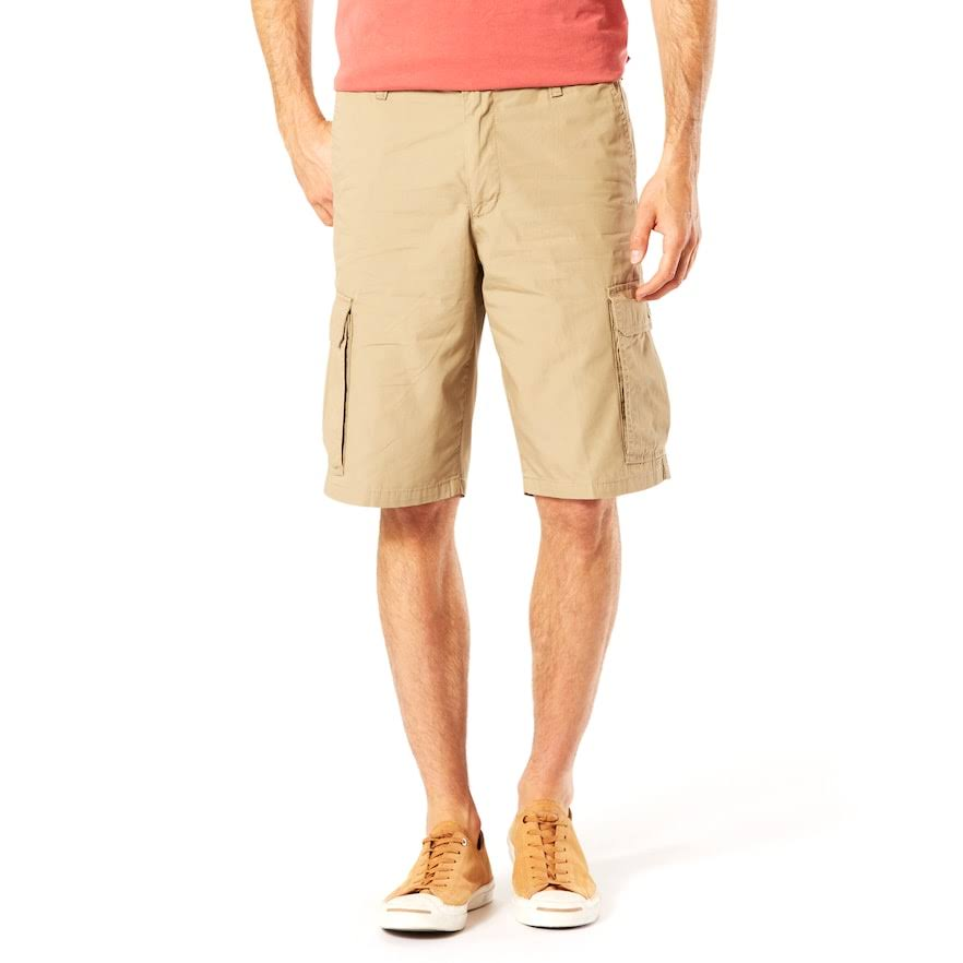 Dockers Mens Washed Cargo Shorts, Size: 33, Beige