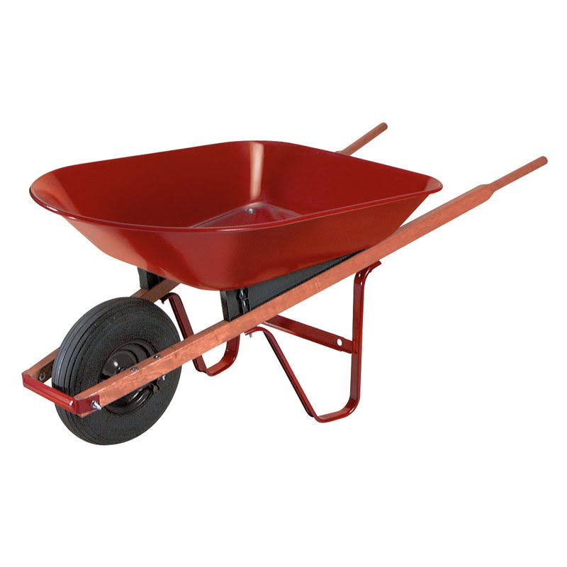 True Temper S4 Foot Steel Wheelbarrow - Red, 4 Cubic Feet