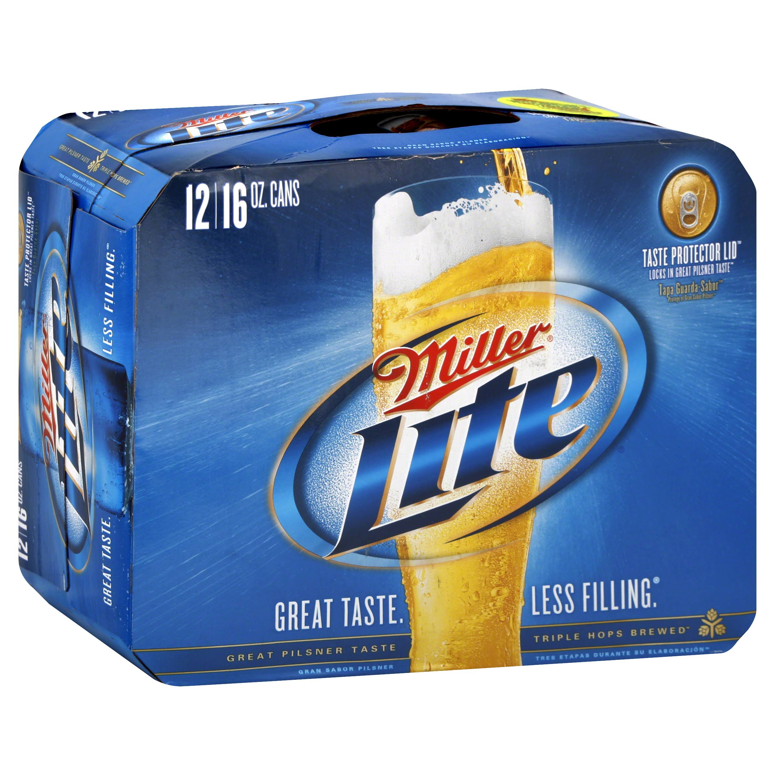 Miller Genuine Draft Miller Lite - 12 x 16 oz Pack