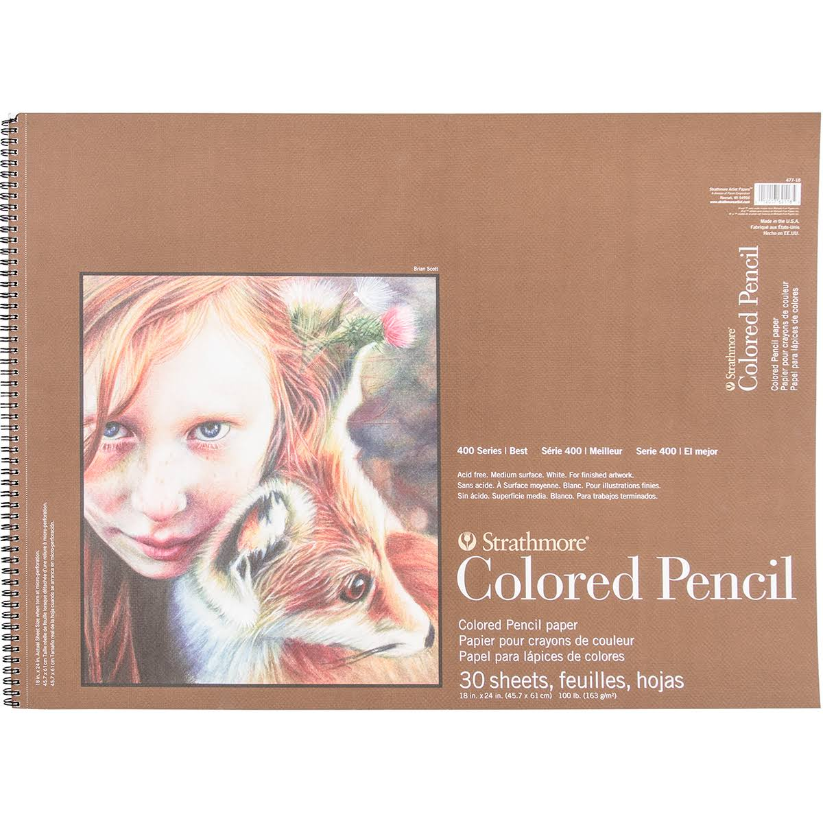 "Strathmore Colored Pencil Spiral Paper Pad - 18""x24"", 30 Sheets"