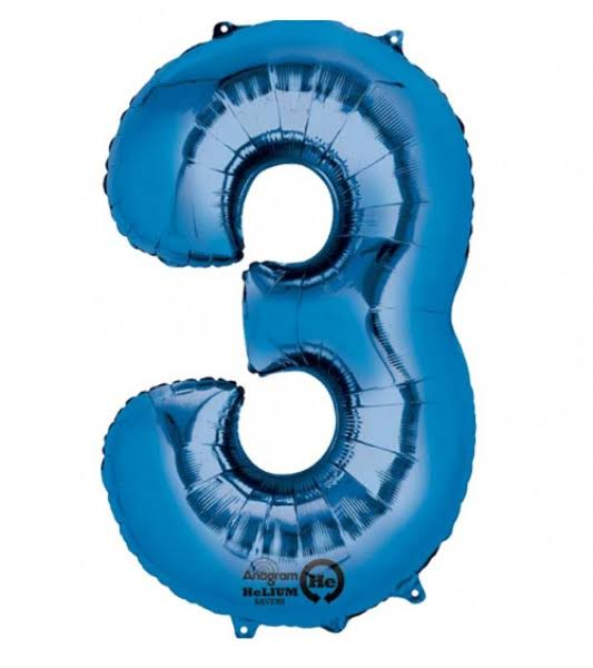 Amscan Number 3 Super Shape Foil Balloon - Blue