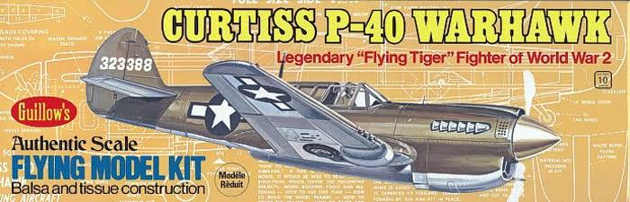 "Guillows Curtiss P40 Warhawk Wooden Model Kit - 16 ½"" Wing"