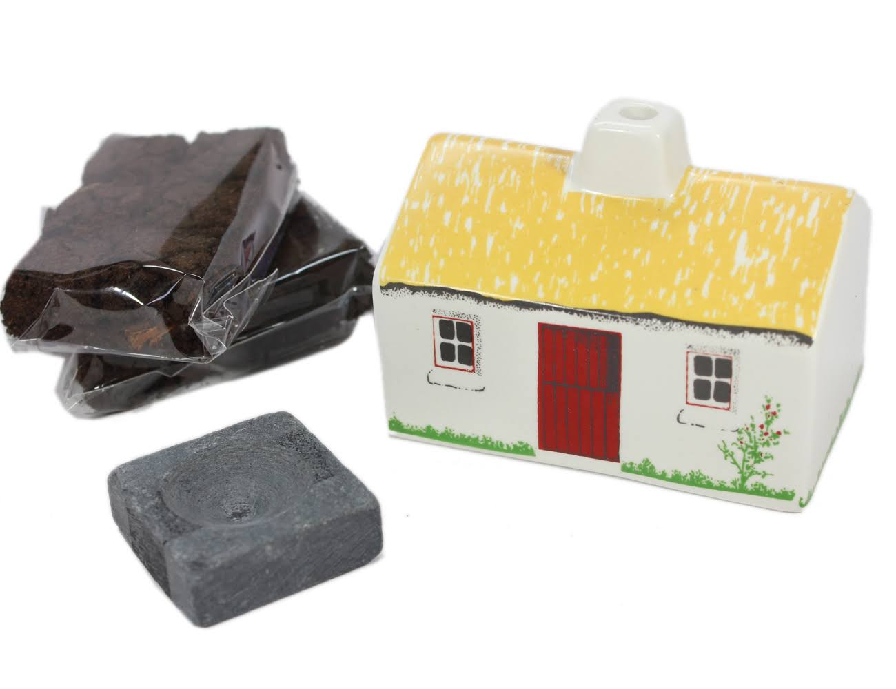 Irish Turf Incense & Ceramic Cottage Irish Peat