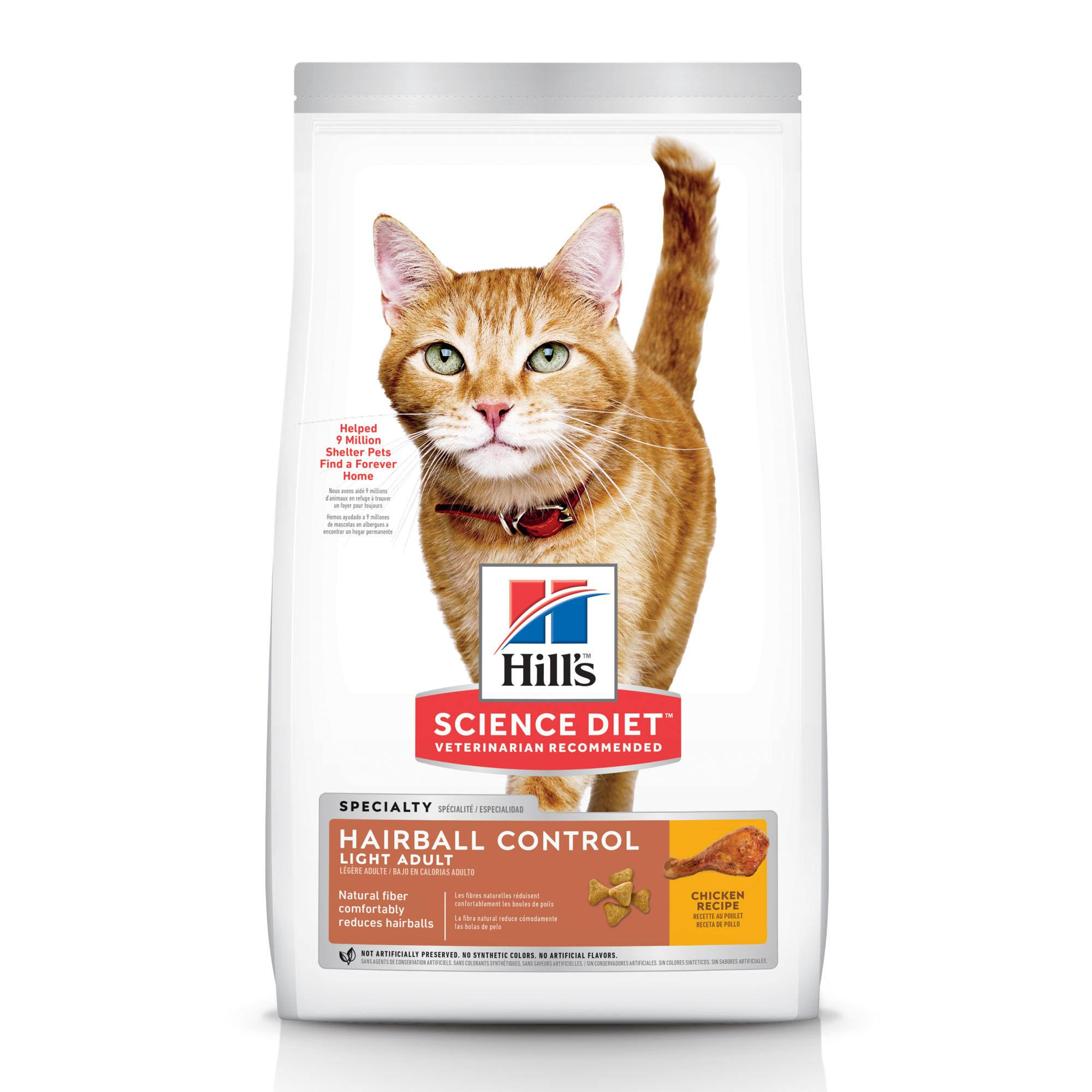 Hill's Science Diet Hairball Control Light Chicken Recipe Premium Cat Food Adult - 15.5 lb