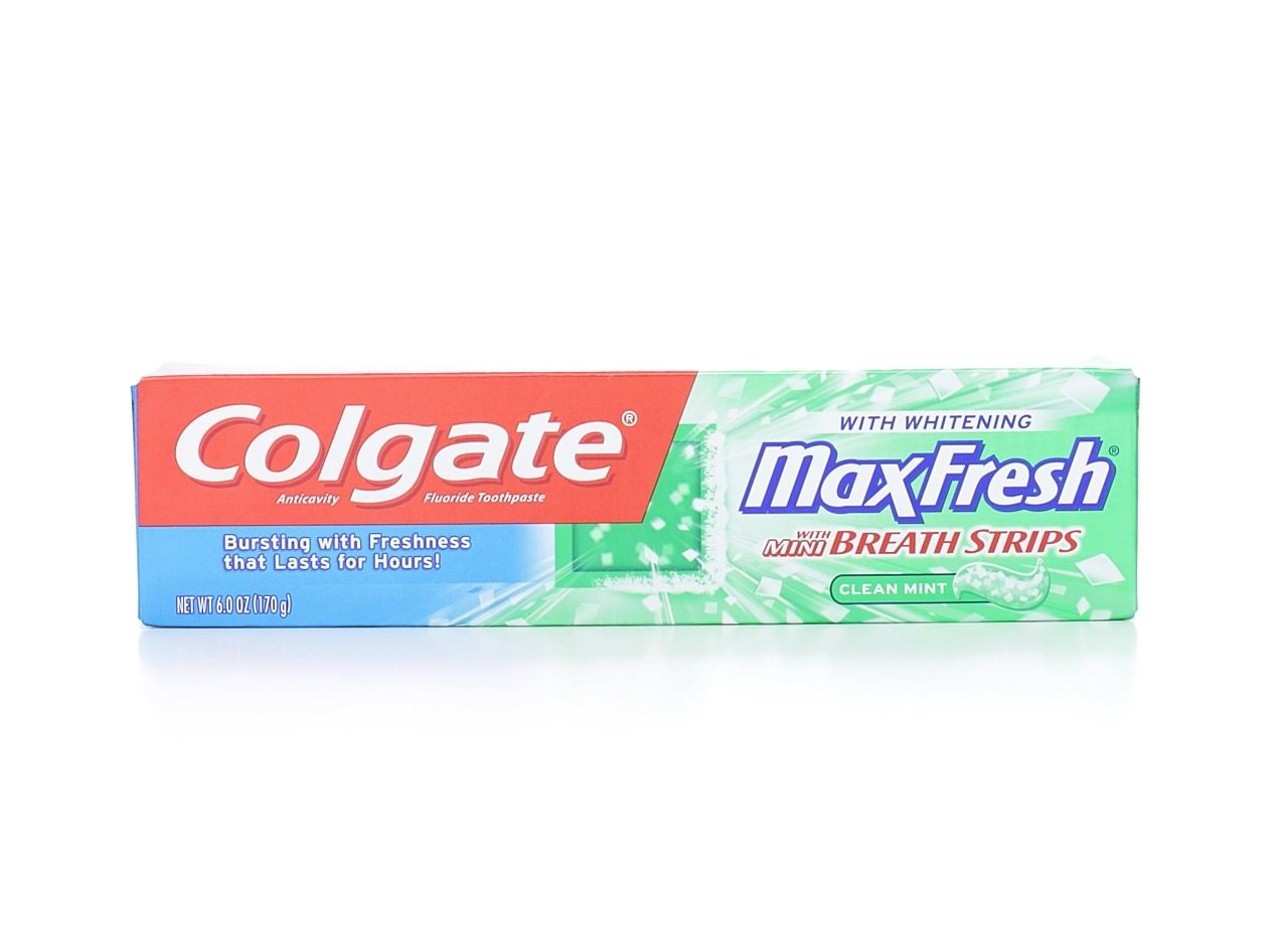 Colgate Max Fresh Toothpaste - Clean Mint with Mini Breath Strips, 6oz