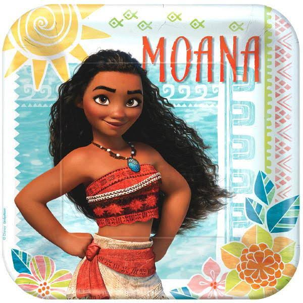 American Greetings Moana Square Plate - 9in, 8pcs