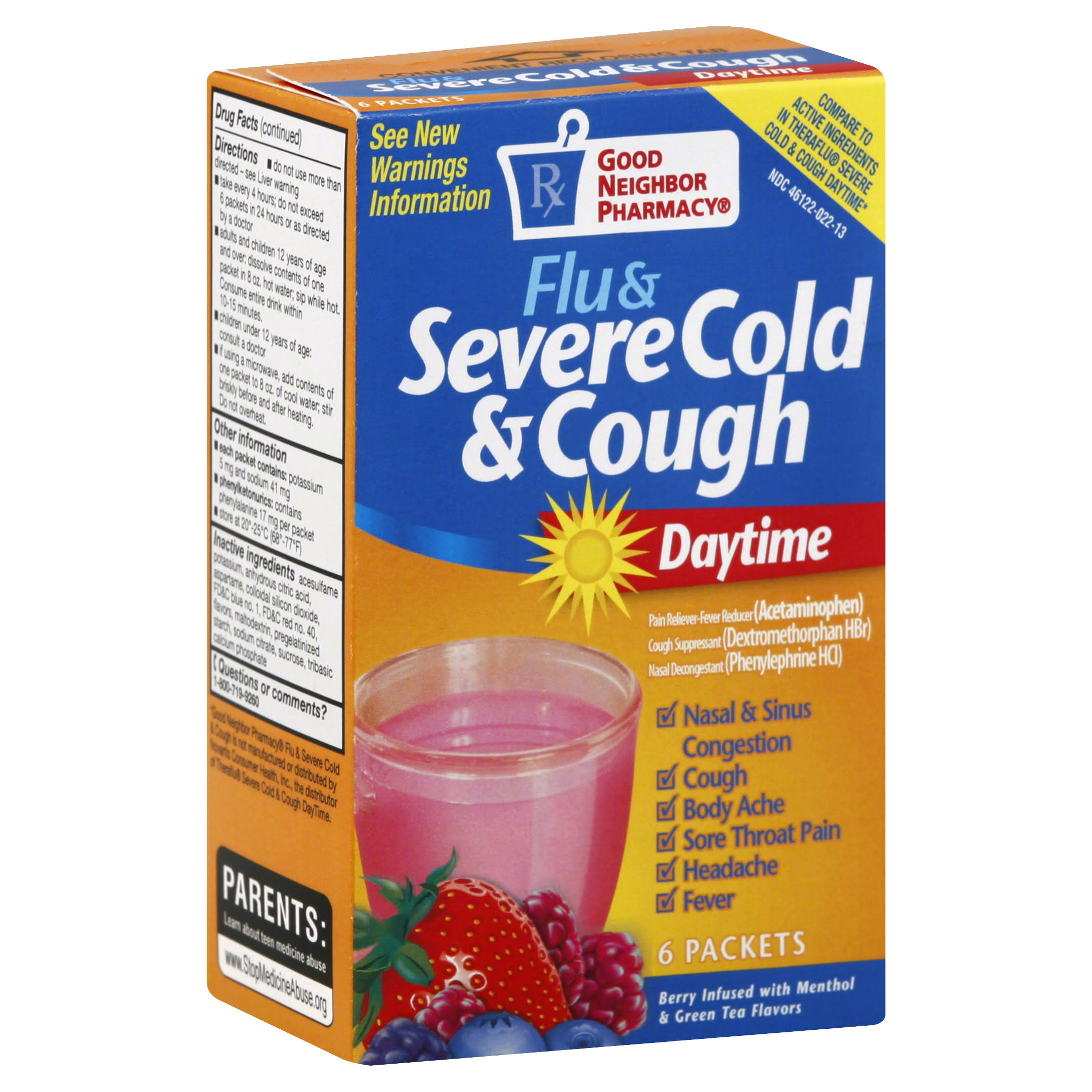 Good Neighbor Pharmacy Flu & Severe Cold & Cough Medicine, Daytime, Berry Infused with Menthol & Green Tea Flavors - 6 packets