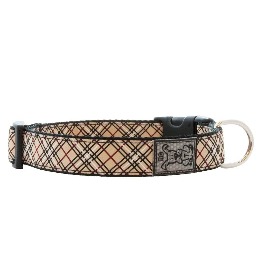 RC Products Adjustable Nylon Dog Clip Collar - Tan Tartan