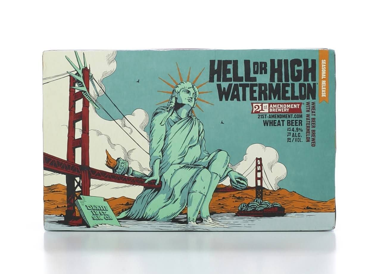 21st Amendment Brewery Beer, Wheat, Hell or High Watermelon - 6 pack, 12 oz cans