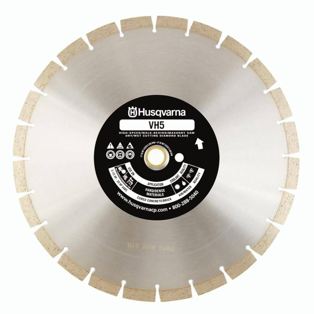 "Husqvarna Construction Products 542774463 Pinhole B VH5 High Speed Blade - Diamond, 14"" bx .118 by 1 Drive, 20mm"