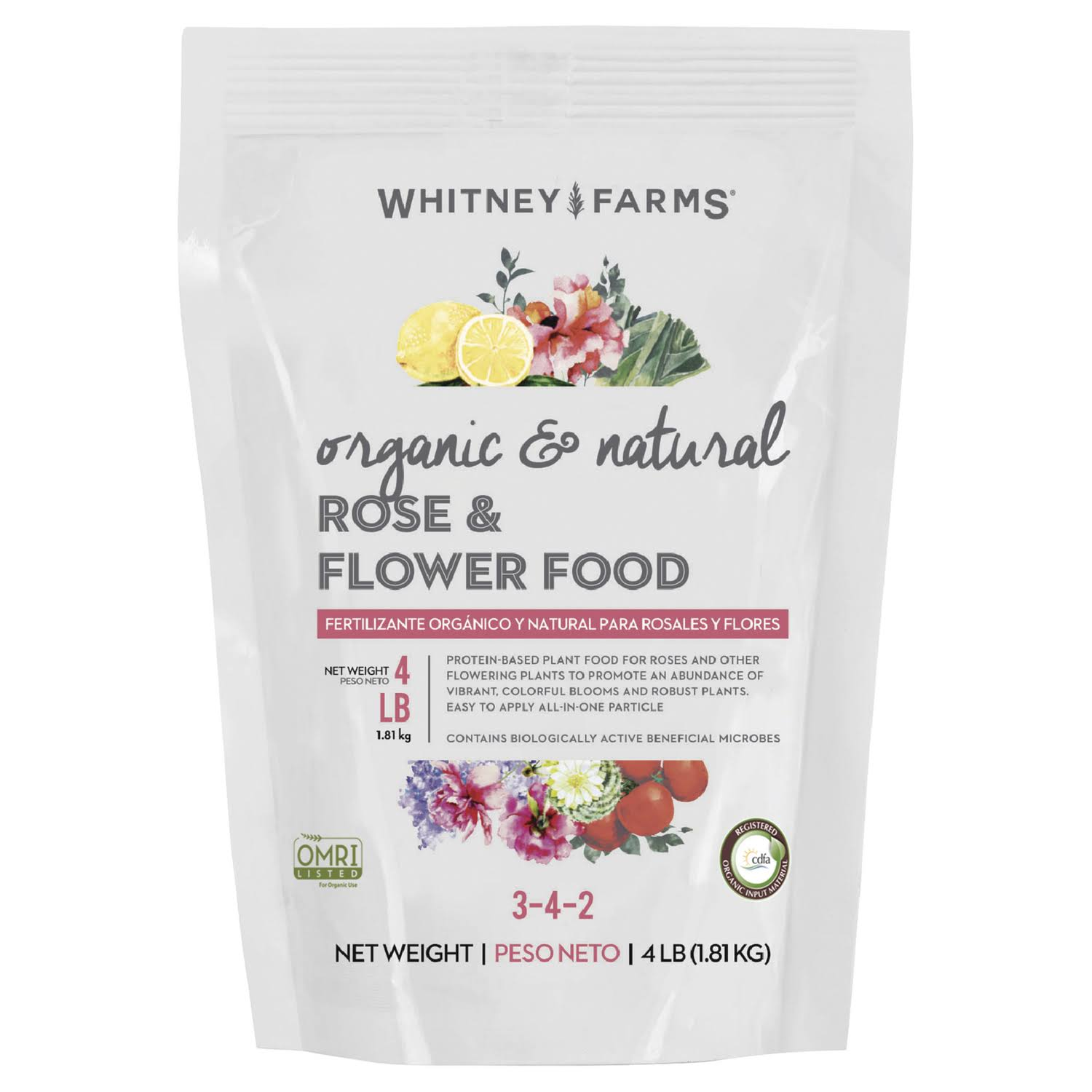 Whitney Farms Organic and Natural Rose and Flower Dry Plant Food - 4lb