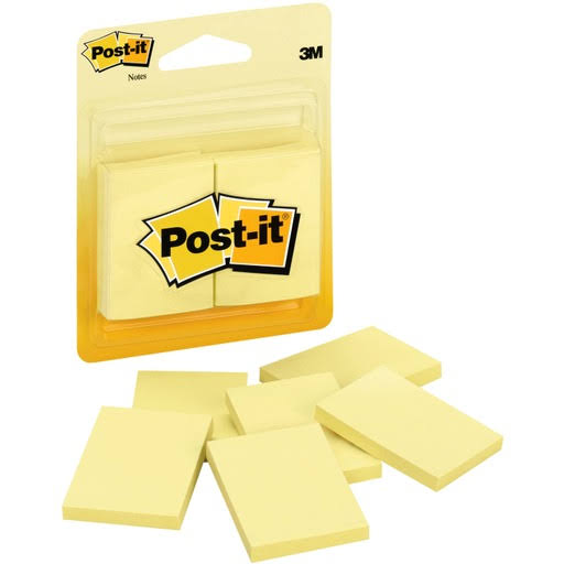 "Post-It Notes - Canary Yellow, 1.5""x2"", 6 Pack"