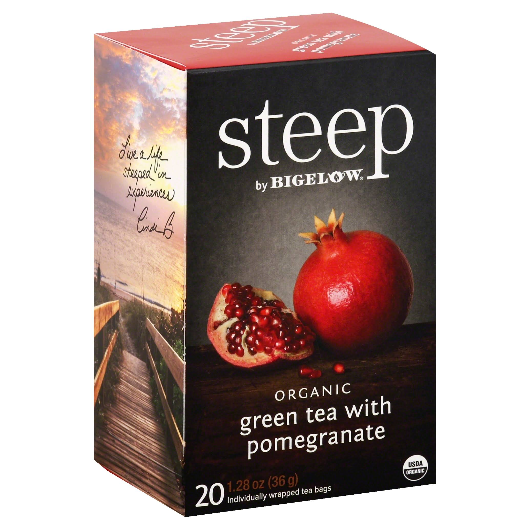 Bigelow Steep Organic Green Tea - Pomegranate, 20ct