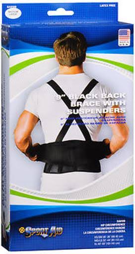 Sport Aid Back Support - Black, Medium