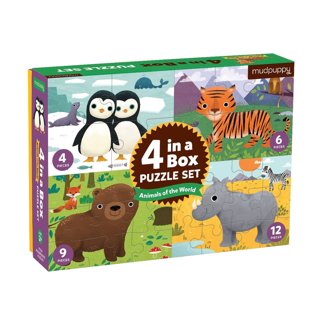 Mudpuppy Animals of the World 4-in-a-Box Puzzle Set