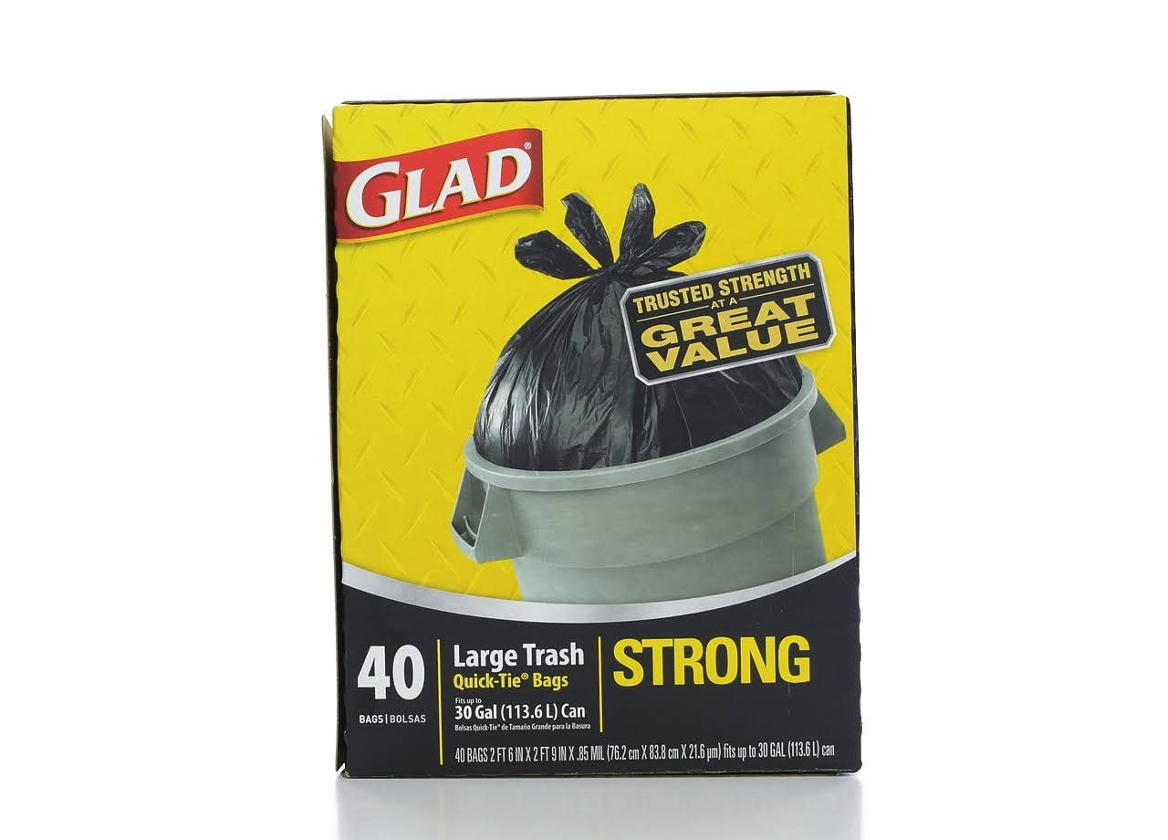 Glad Large Trash Bags - 30Gal, 40 Bags