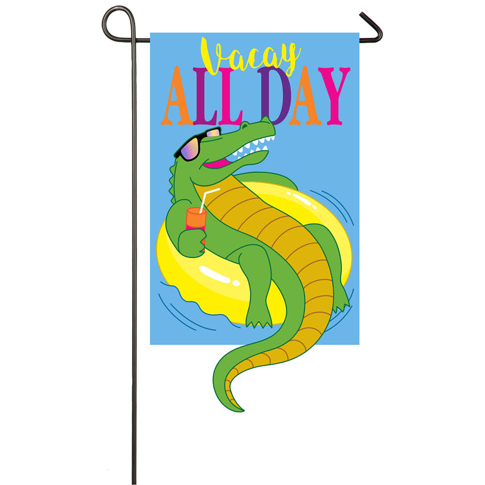 Evergreen Flag & Garden Vacay All Day Gator 2-Sided Polyester 1'6 x 1 ft. Garden Flag