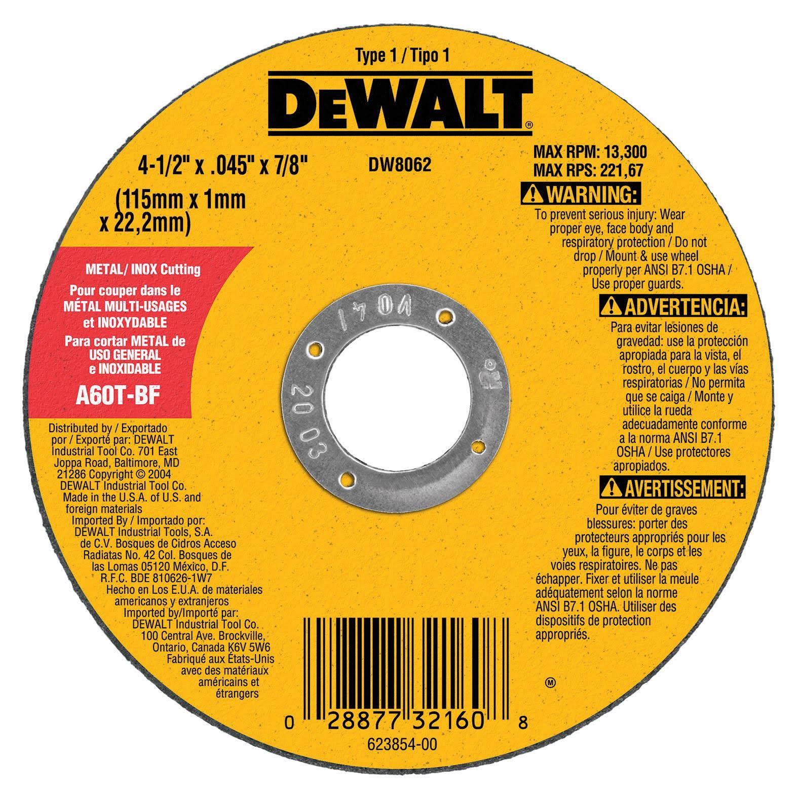 "Dewalt Metal Stainless High Performance Cut-Off Wheel - 4 1/2"" x 0.045"" x 7/8"""