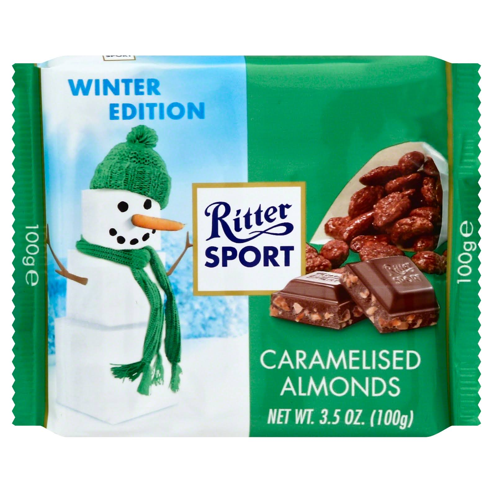 Ritter Sport Milk Chocolate with Caramelised Almonds - 3.5oz
