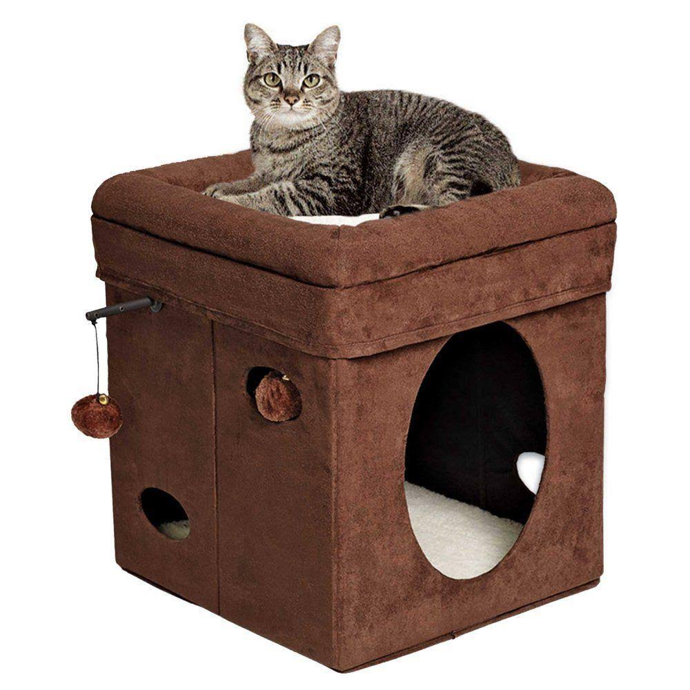 MidWest Homes Feline Nuvo Curious Cat Cube - Brown