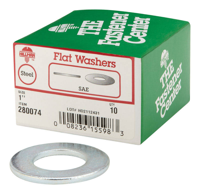 The Hillman Group Zinc-plated Standard SAE Flat Washers - 1in, 10pcs