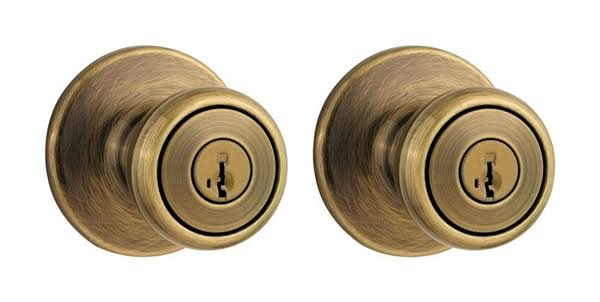 Kwikset Tylo Entry Knobs - Antique Brass, 2pk