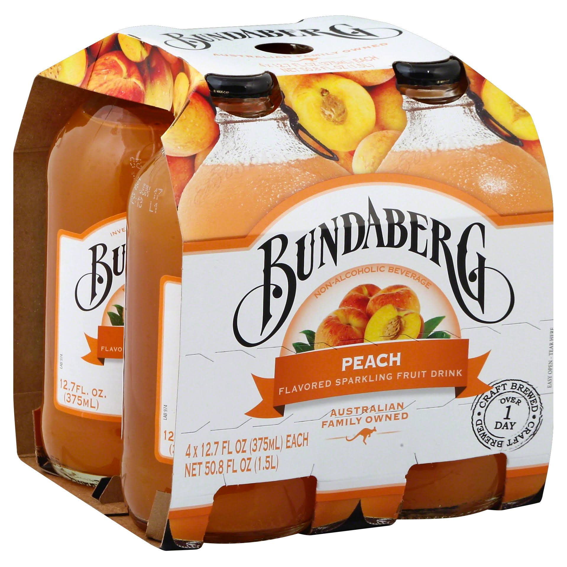 Bundaberg Flavored Sparkling Fruit Drink, Peach - 4 pack, 12.7 fl oz each