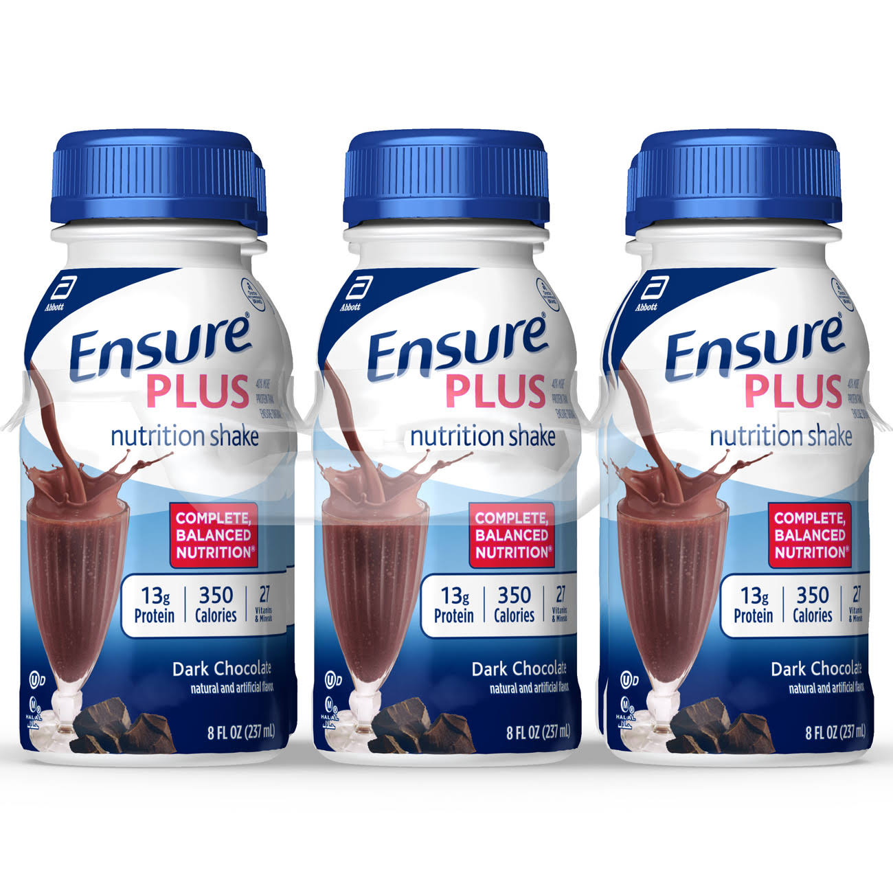 Abbott Ensure Plus Dark Chocolate Nutrition Shake - 6 x 8 oz Pack