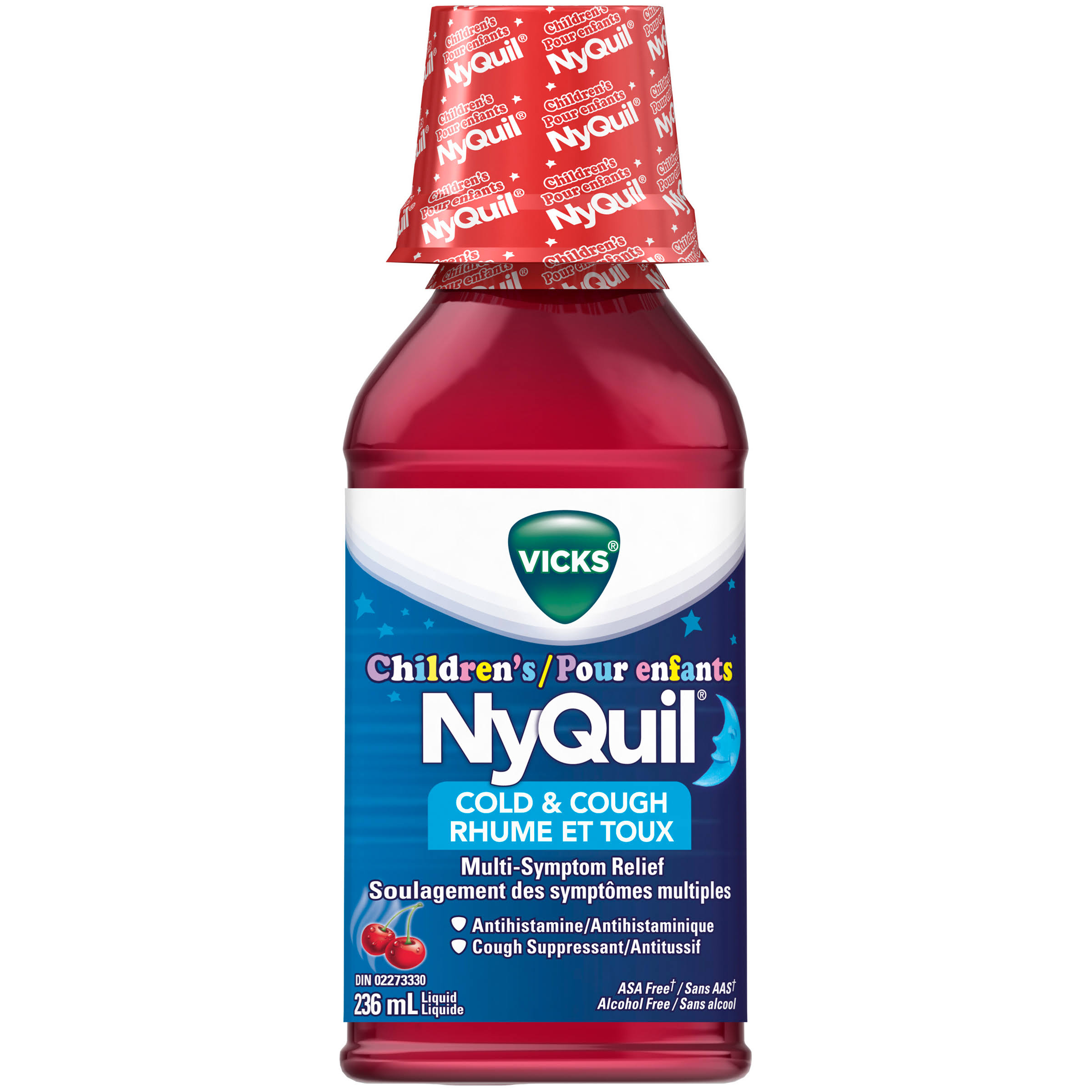 Vicks Children's Nyquil Cold & Cough Multi-Symptom Relief Syrup, Cherry, 236 ml