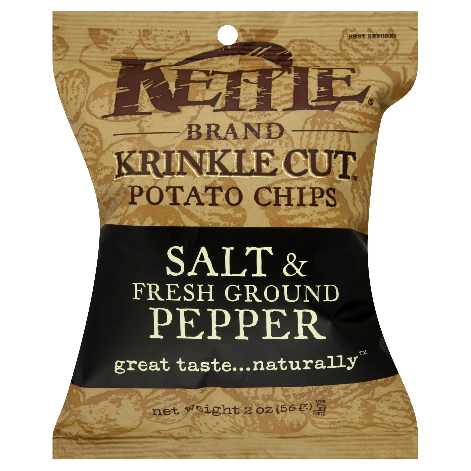 Kettle Brand Krinkle Cut Potato Chips - Salt and Fresh Ground Pepper, 2oz