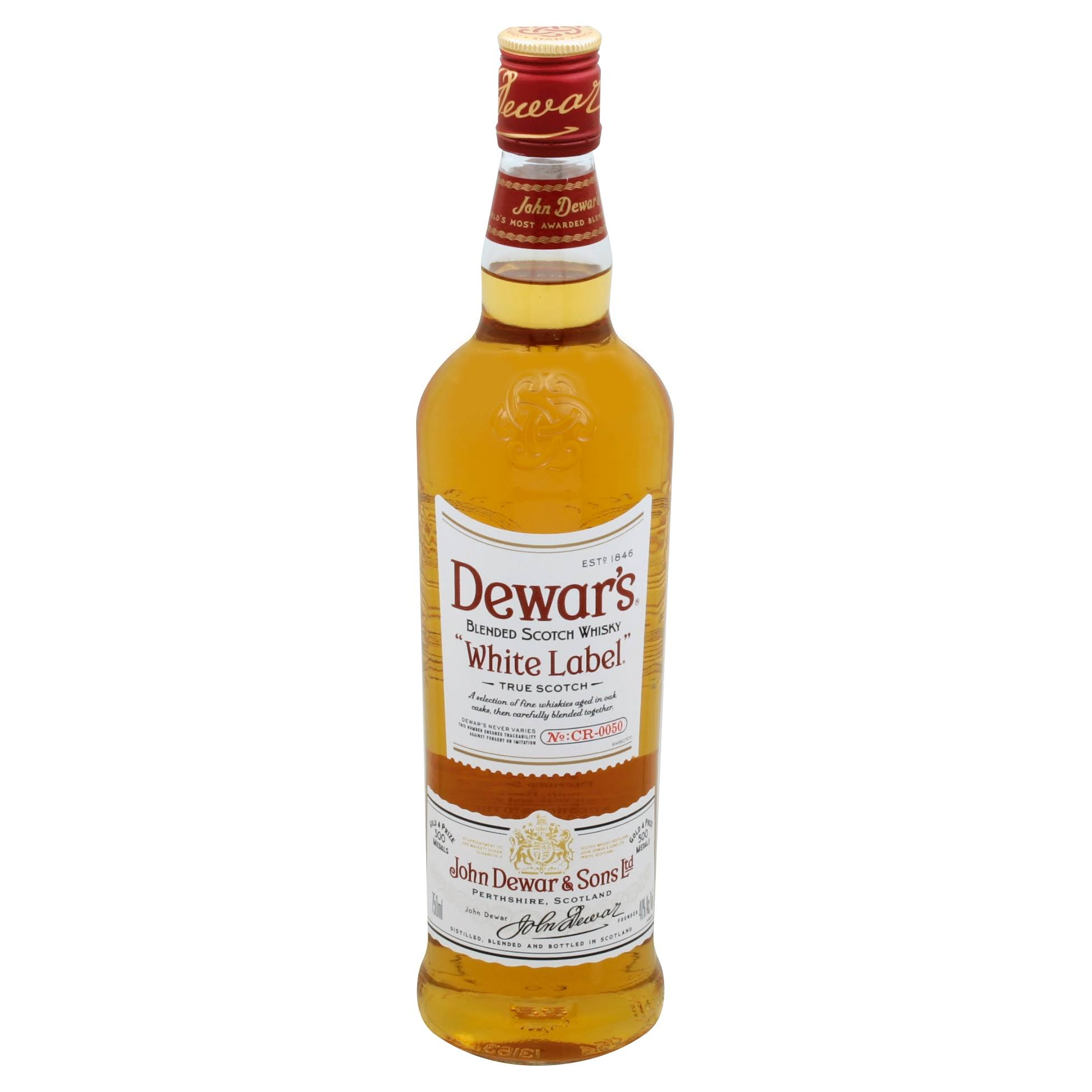 Dewars White Label Whisky, Scotch, Blended - 750 ml