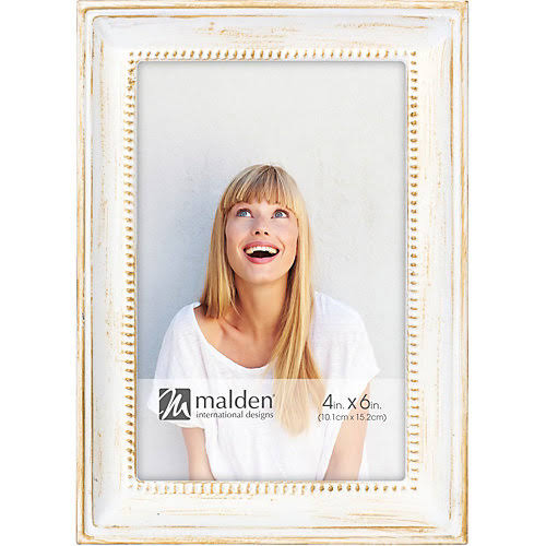 Malden Beaded Metal Picture Frame - White