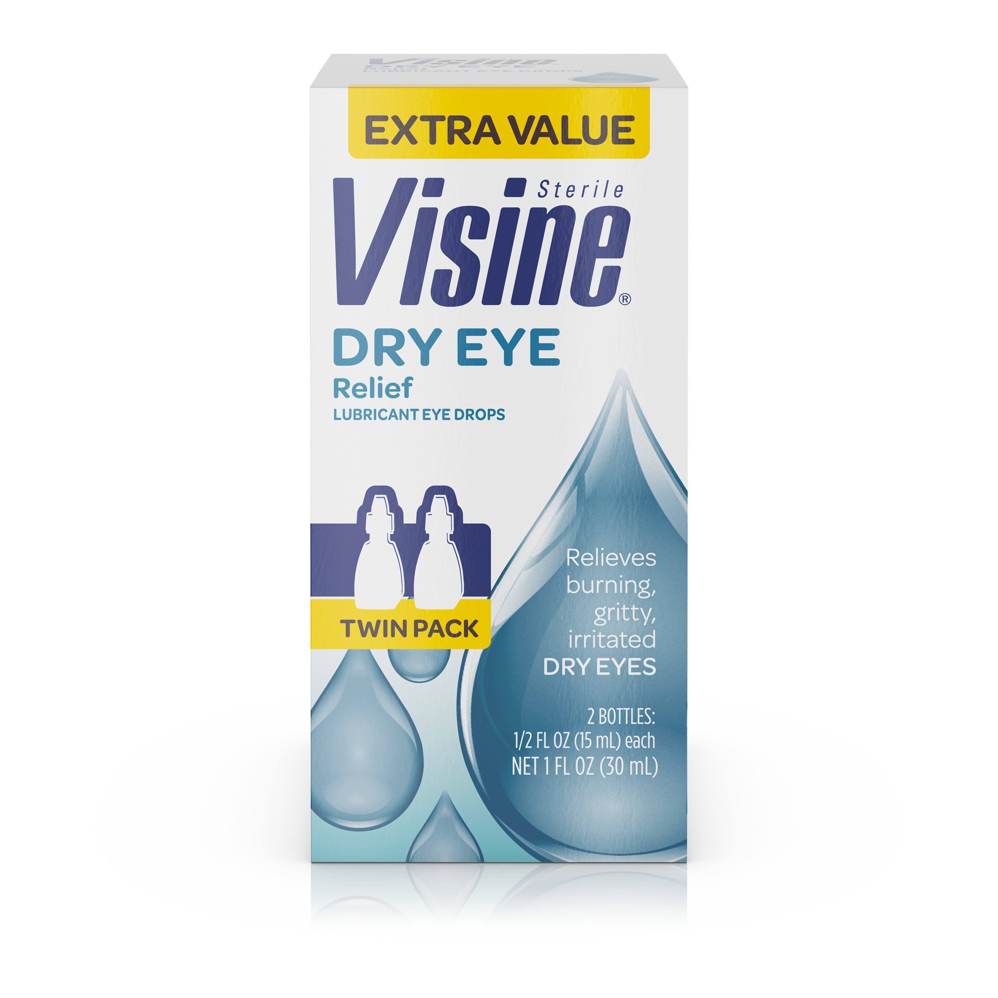 Visine Tears Dry Eye Relief Lubricant Eye Drops - 0.5oz, Pack Of 2