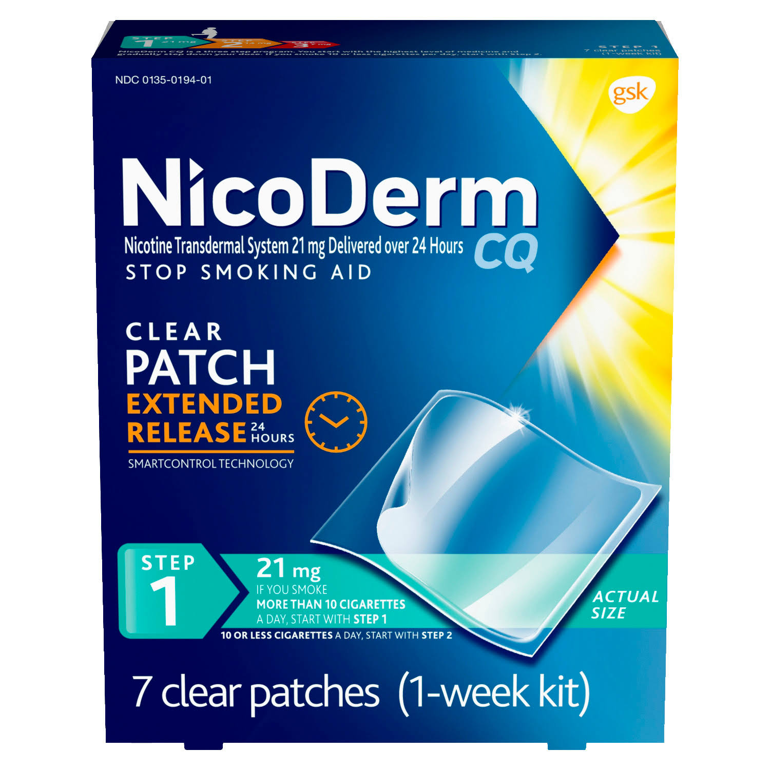 NicoDerm Cq Clear Nicotine Patch Stop Smoking Aid - 7pk
