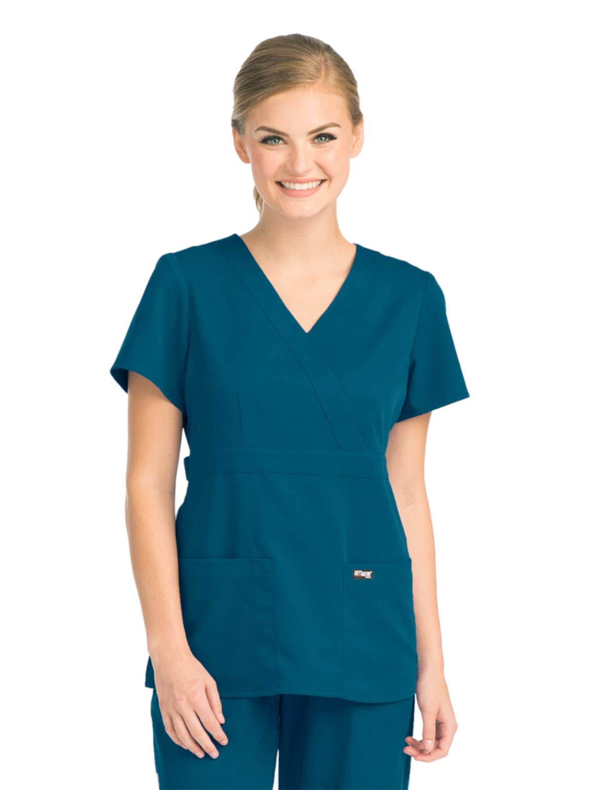 Grey's Anatomy Womens Junior-Fit Three-Pocket Mock-Wrap Scrub Top - Bahama, XX-Small