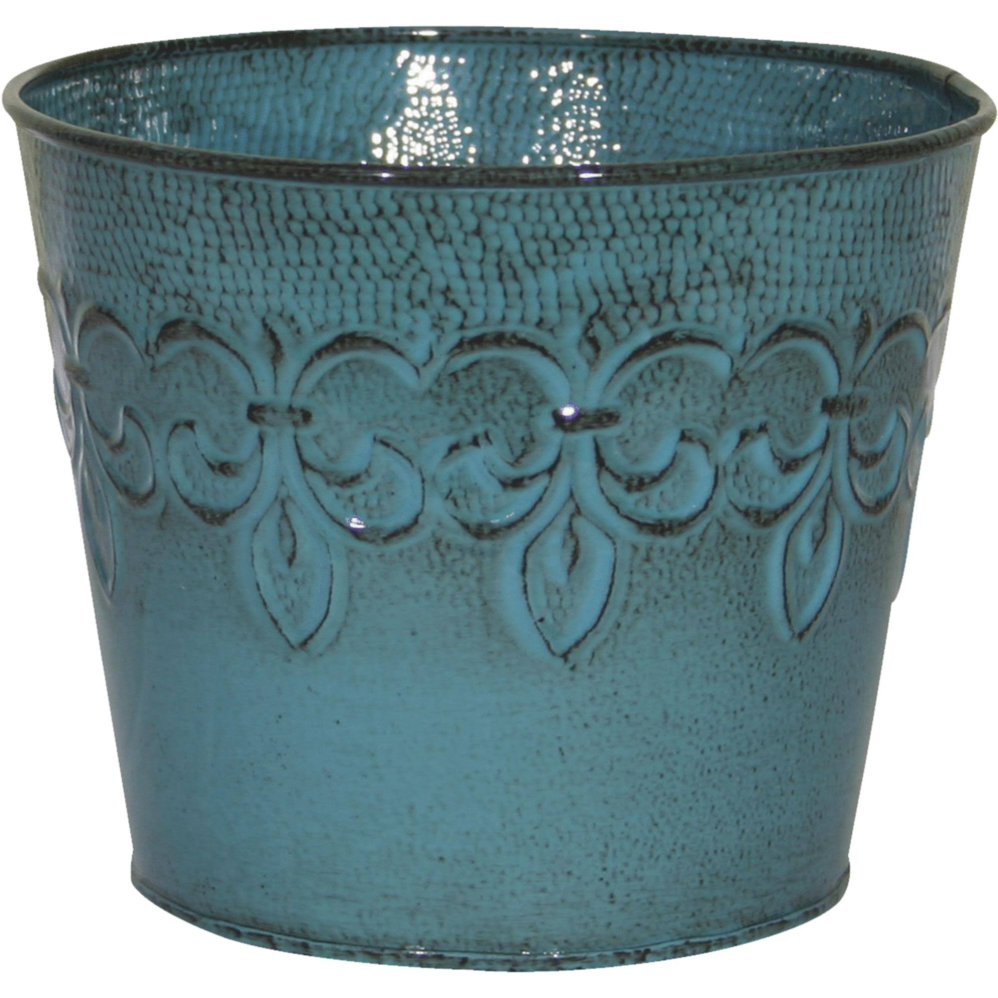 Robert Allen Fleur De Lis Metal Planter - Blue Surf, 6""