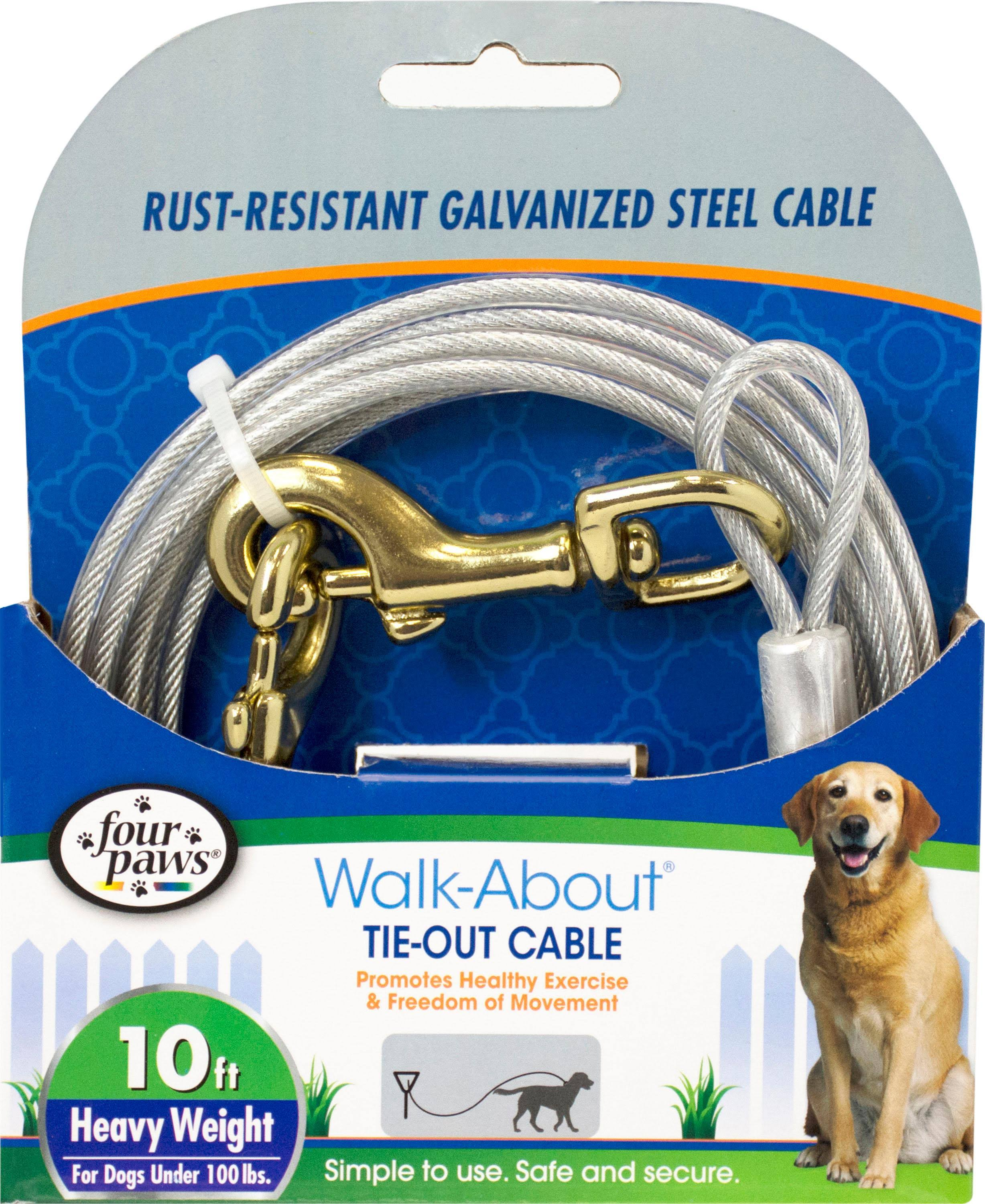 Four Paws Dog Tie-Out Cable - Bronze Snaps, 10 Feet