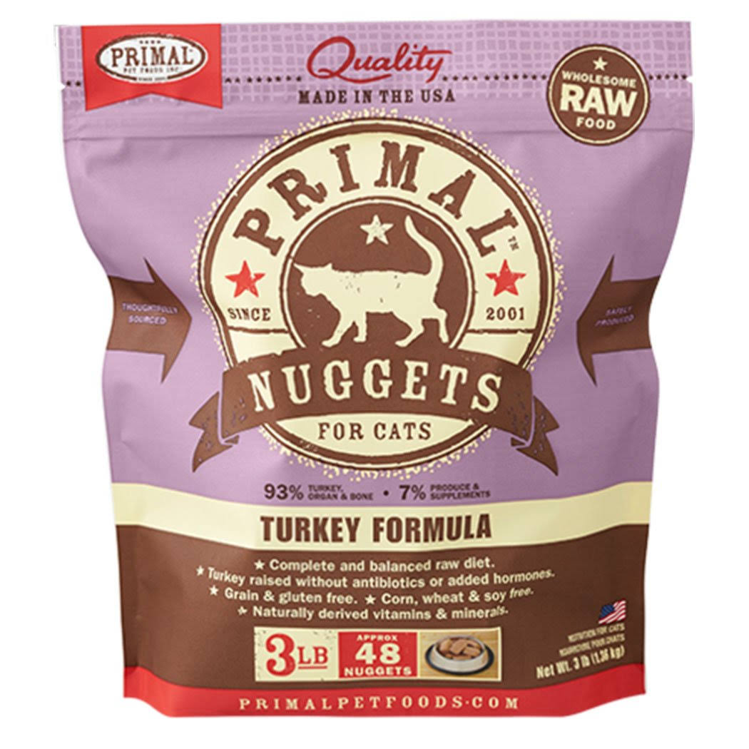 Primal Turkey Formula Frozen Raw Nuggets Cat Food - 3 lbs