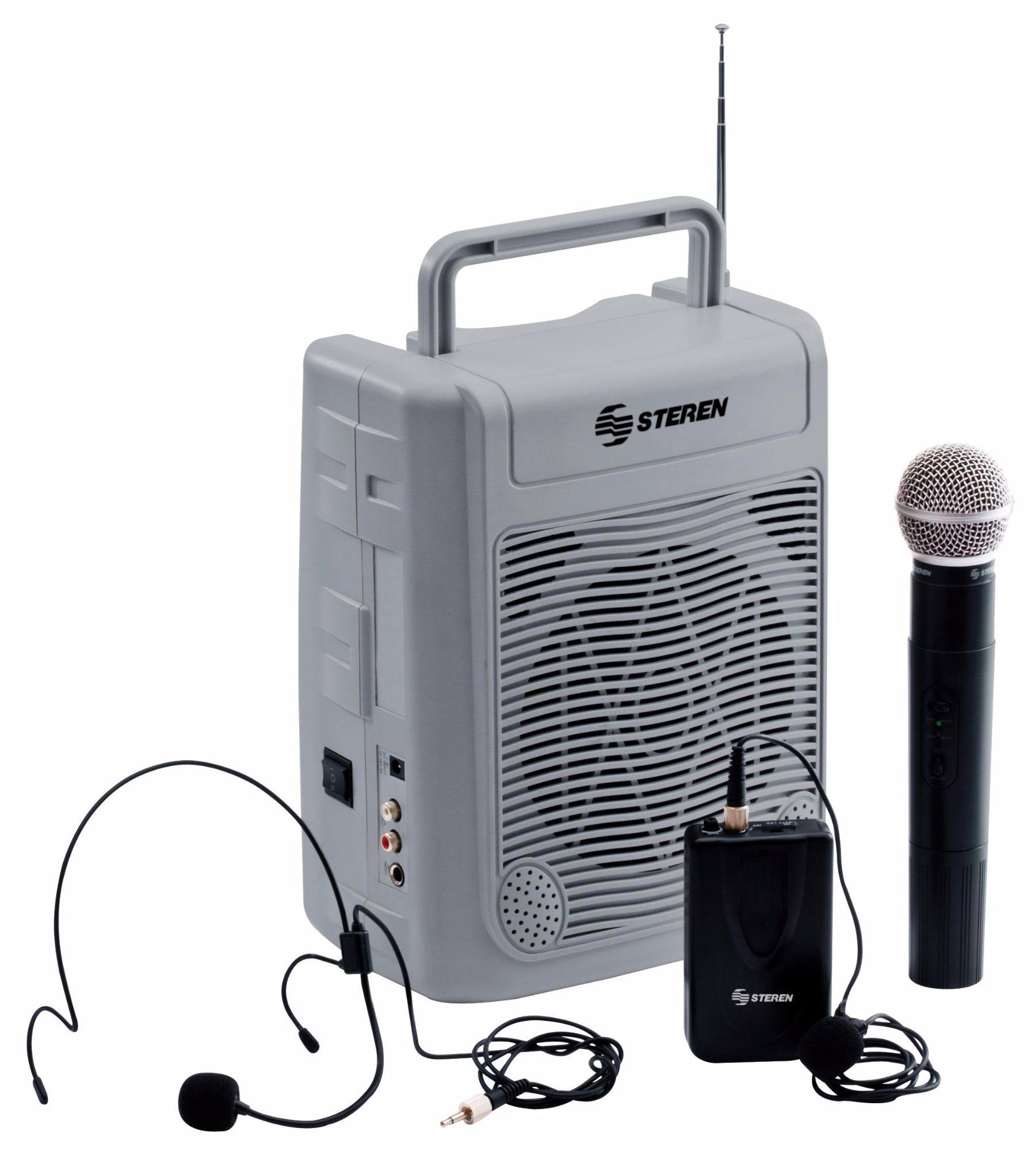 Steren 50 W Portable Amplifier with USB, SD Reader, Handheld, Lapel Microphones