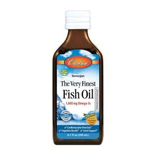 Carlson Labs Very Finest Fish Oil Liquid, Orange - 6.7 fl oz bottle
