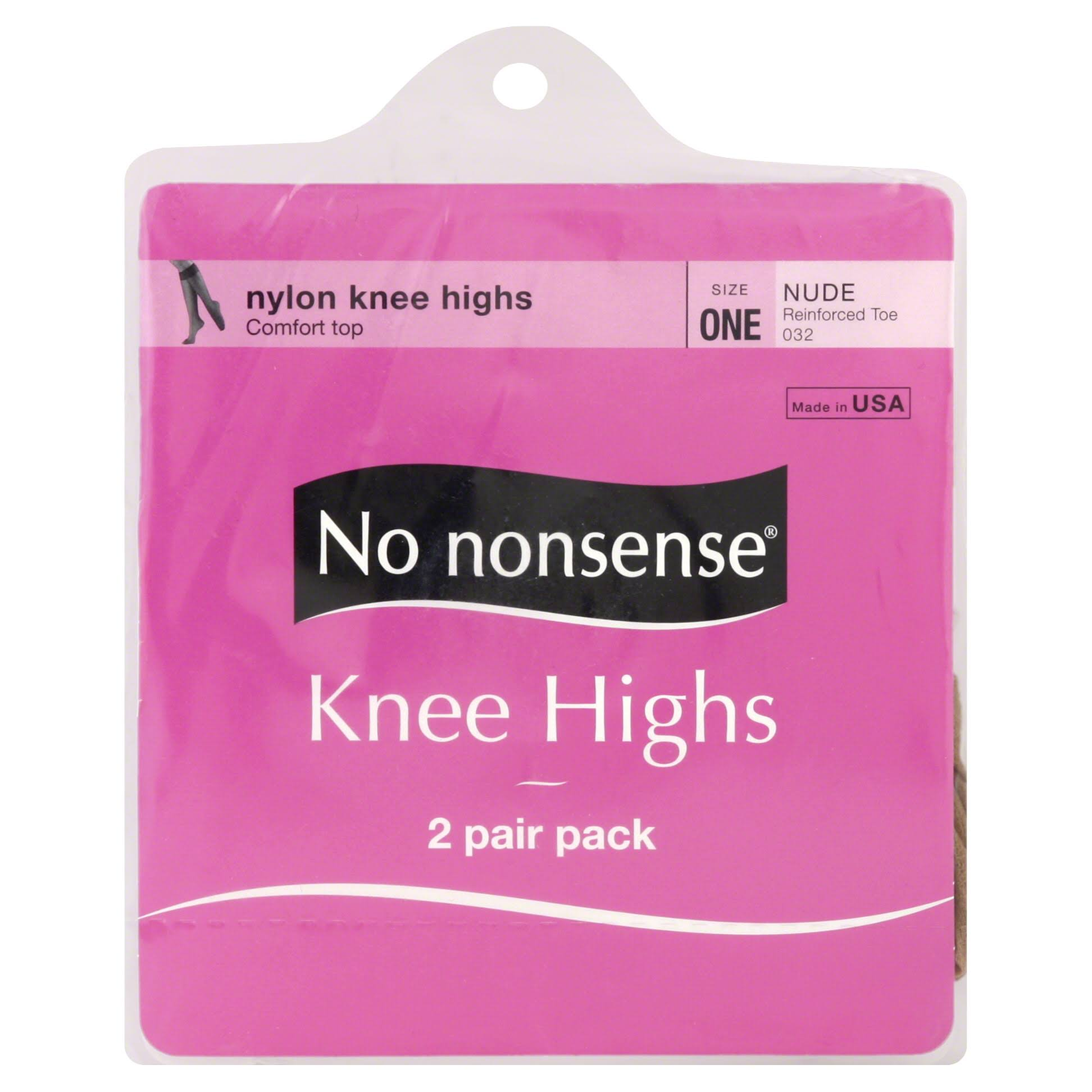 No Nonsense Knee Highs, Reinforced Toe, One Size, Nude - 2 pair